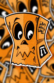 Sticker - Paper bag orange