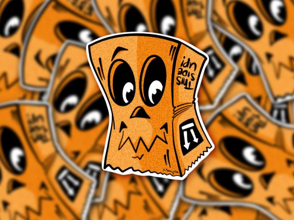 Sticker - Paper bag orange